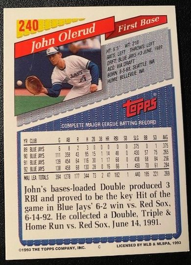 1993 Topps Blue Jays John Olerud 240