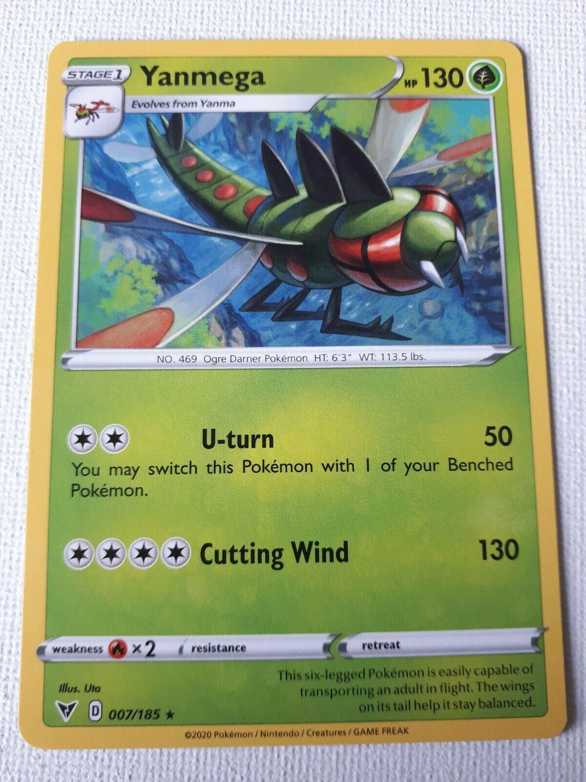 Yanmega 007//185  Reverse Holo Vivid Voltage Pokemon Card Near Mint