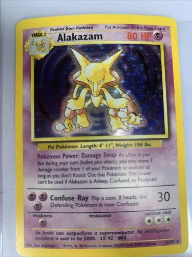 Base Set Alakazam Vtg Holo Rare Poke'mon Card TCG 1//102 Near Mint