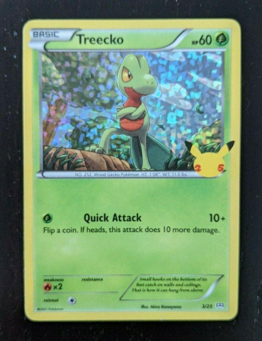 2021 McDonald's Happy Meal 25th Anniversary Pokemon holo bleed Card 3/25 Treecko