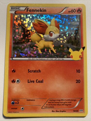 Pokemon Holo McDonald's 25th Anniversary Fennekin 14/25