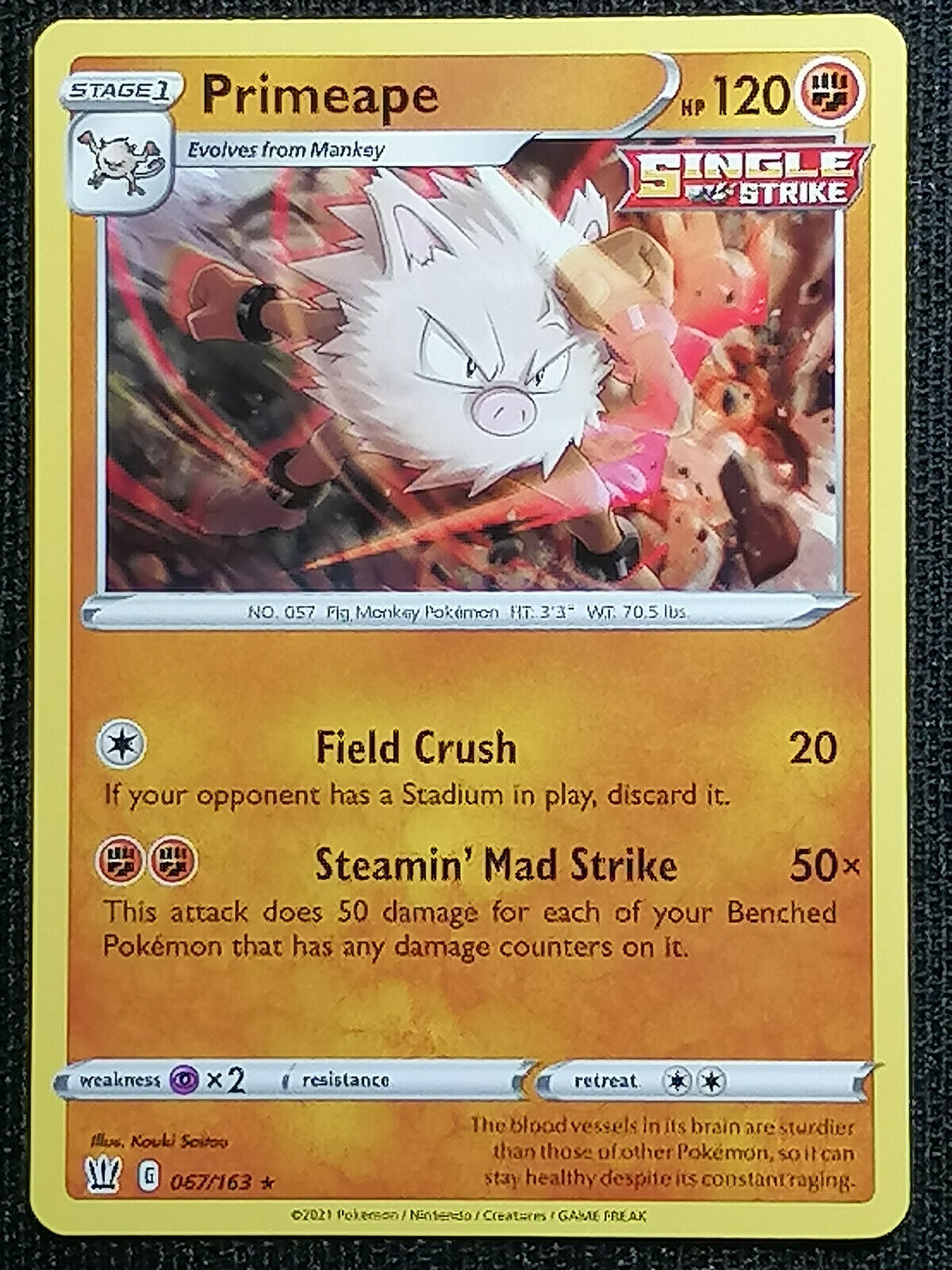 POKEMON CARD - Primeape 067/163 - Rare - Battle Styles - NM