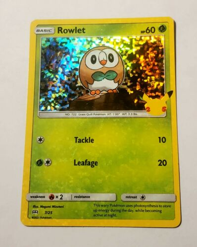 Rowlet 7/25 - HOLO BLEED ERROR - Pokemon 25th Anniversary McDonald's Promo NM/M