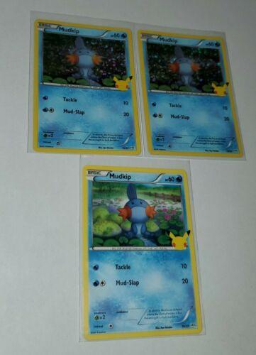 Pokemon McDonald's 25th Anniversary Mudkip 19/25 Holo x2 & Non Holo Promo Card