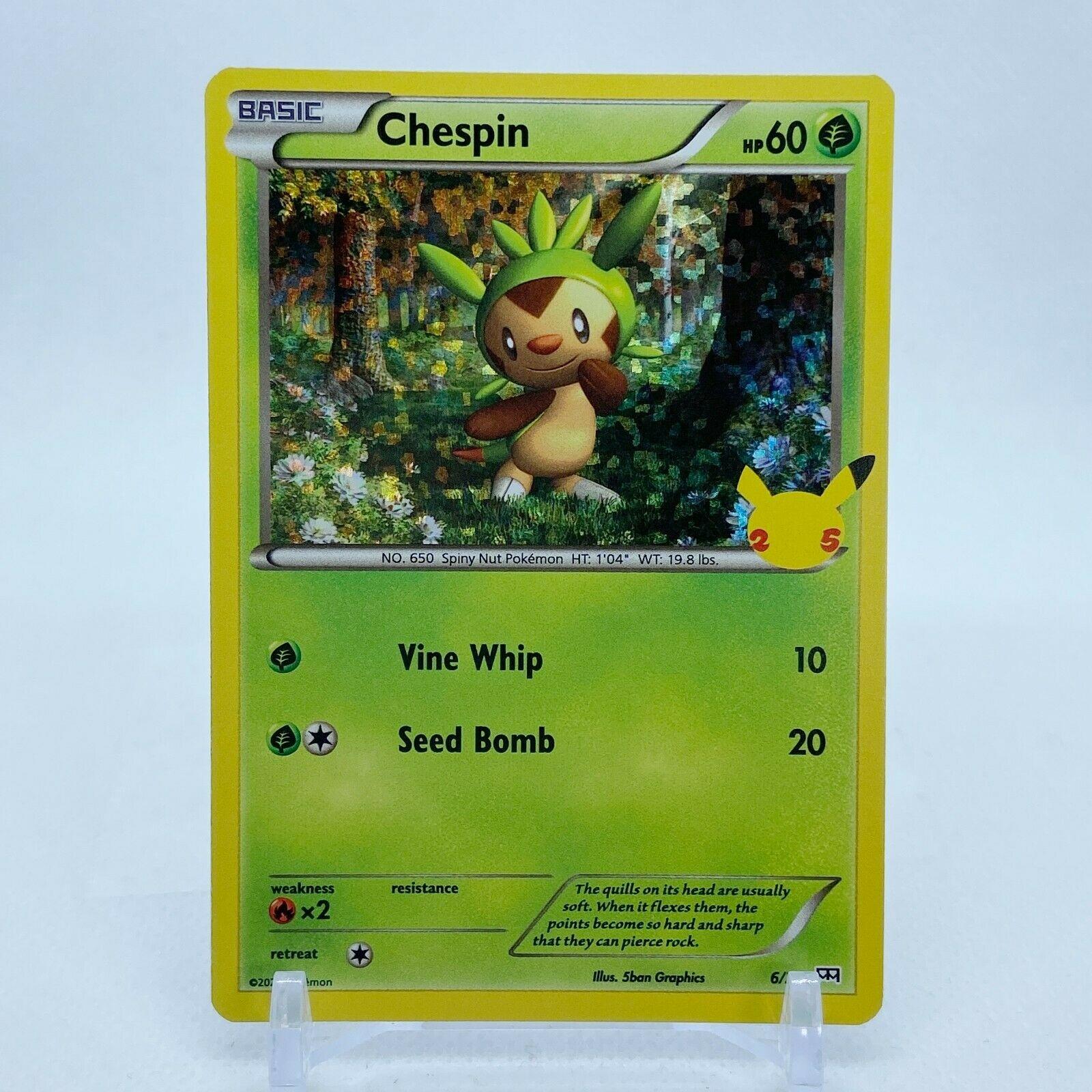 Chespin - 6/25 Mcdonald's Promo 25th Anniversary Holo Starter Pokemon - NM/MINT