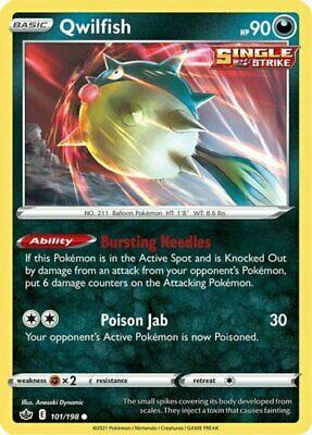 x4 Qwilfish - 101/198 - Common - Reverse Holo Pokemon SS06 Chilling Reign M/NM