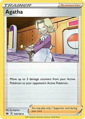 4x Agatha - 129/198 - Uncommon NM-Mint Pokemon SWSH6 - Chilling Reign