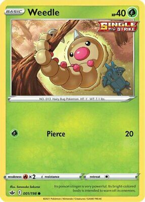 x4 Weedle - 001/198 - Common - Reverse Holo Pokemon SS06 Chilling Reign M/NM