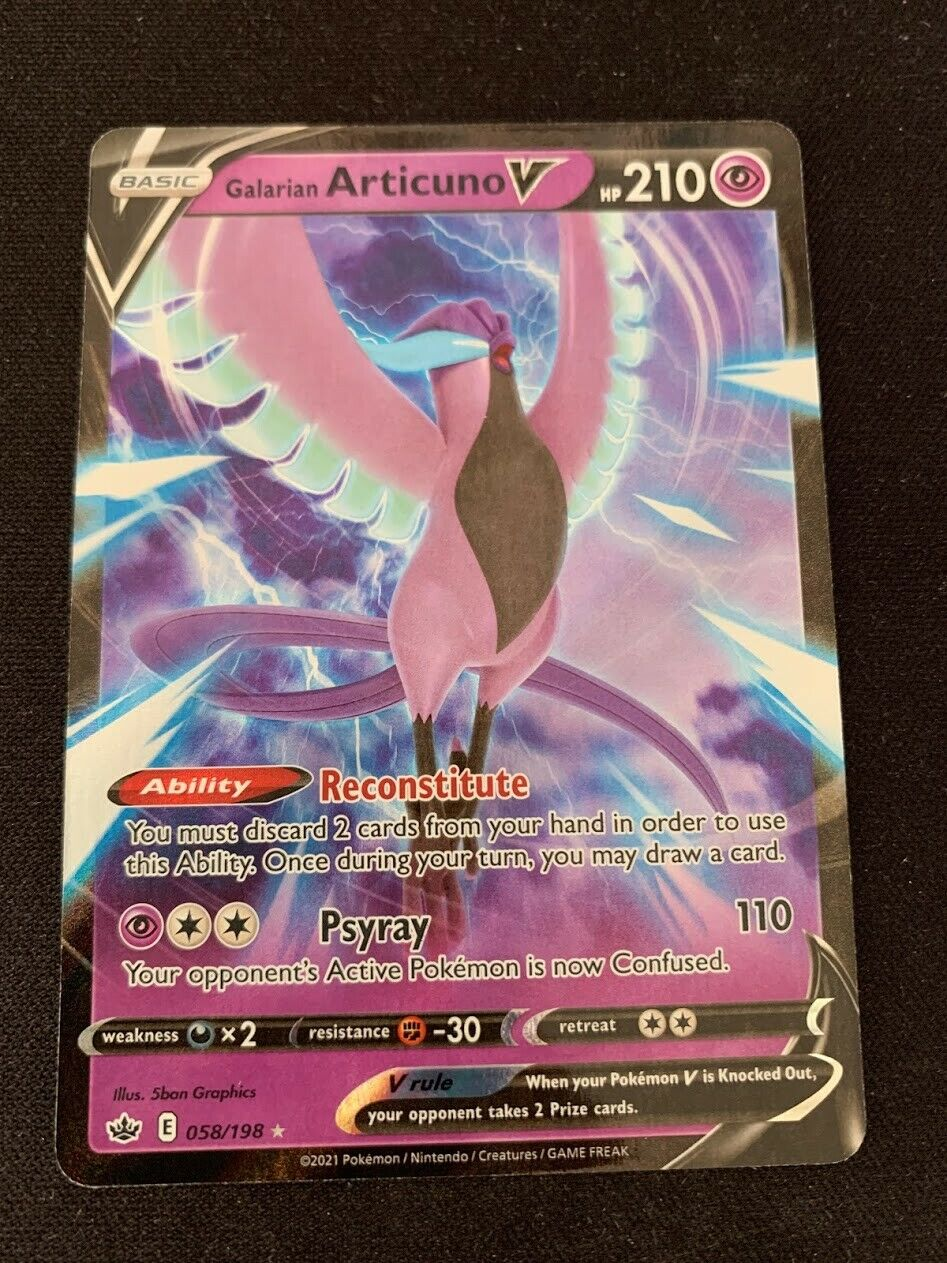Pokemon Galarian Articuno V 058/198 Holo Ultra Rare Chilling Reign Near Mint - Image 1