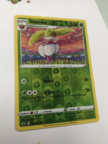 Steenee   Reverse Holo   NM   Chilling Reign 014/198   Uncommon   Pokemon