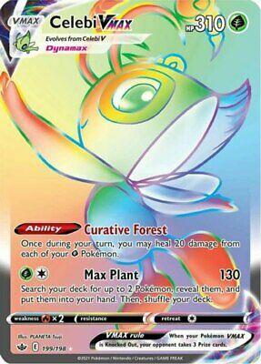 1x Celebi VMAX - 199/198 - Secret Rare NM-Mint Pokemon SWSH6 - Chilling Reign