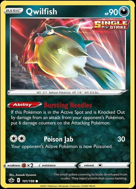 4x Qwilfish 101/198 NM|M- Chilling Reign Pokemon
