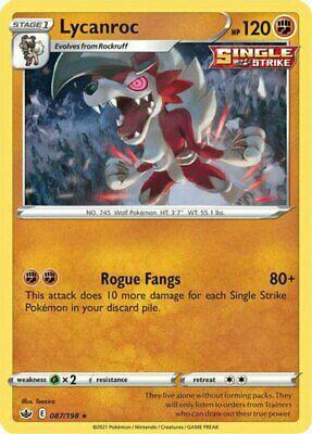 4x Lycanroc - 087/198 - Holo Rare NM-Mint Pokemon SWSH6 - Chilling Reign