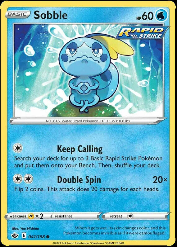 4x Sobble 041/198 NM M- Chilling Reign Pokemon