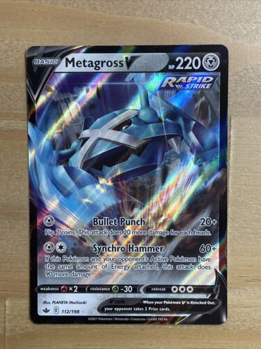 Pokemon Metagross V 112/198 Ultra Rare Chilling Reign NEW IN-HAND