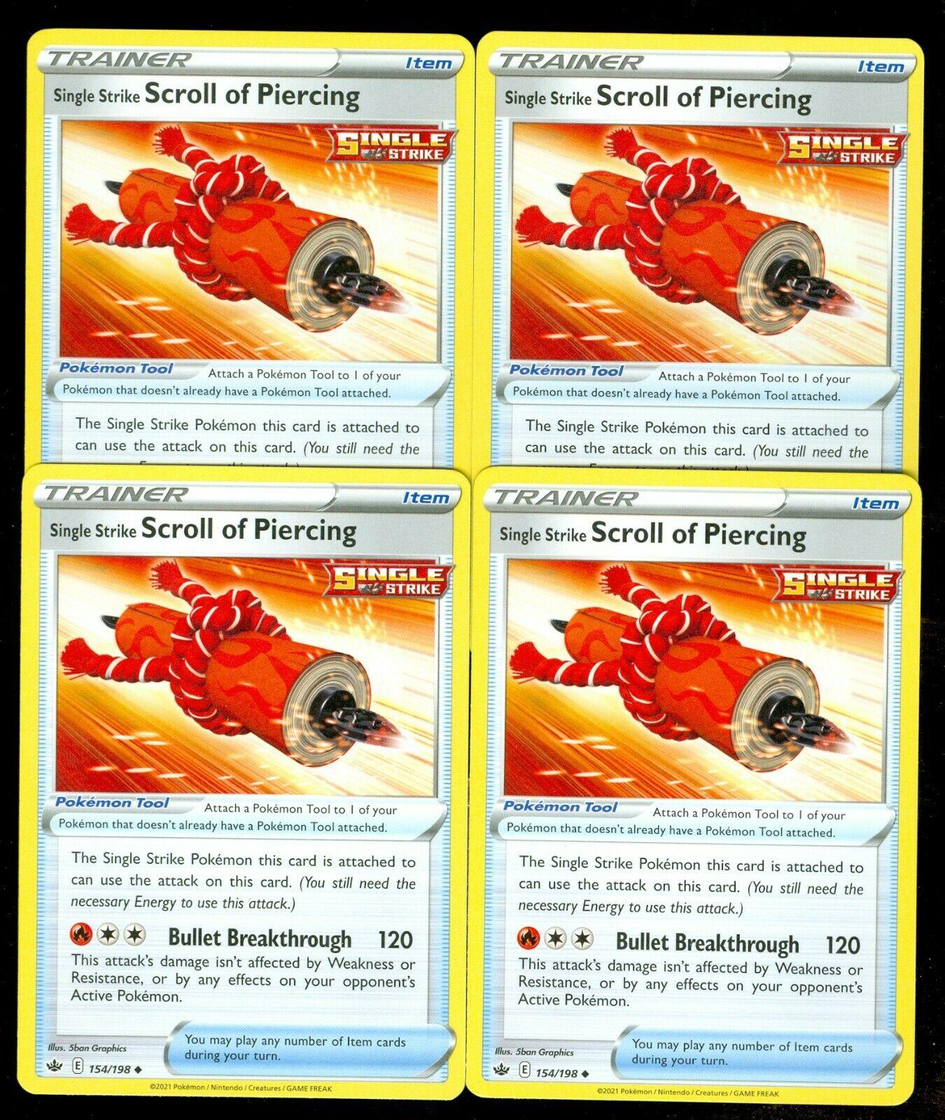 Pokemon SINGLE STRIKE SCROLL OF PIERCING 154/198 Chilling Reign - - MINT 4X