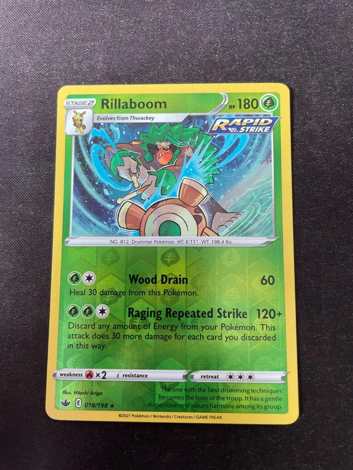 Pokemon TCG Chilling Reign 018/198 Rillaboom Card Fresh Reverse Holo Mint Rare