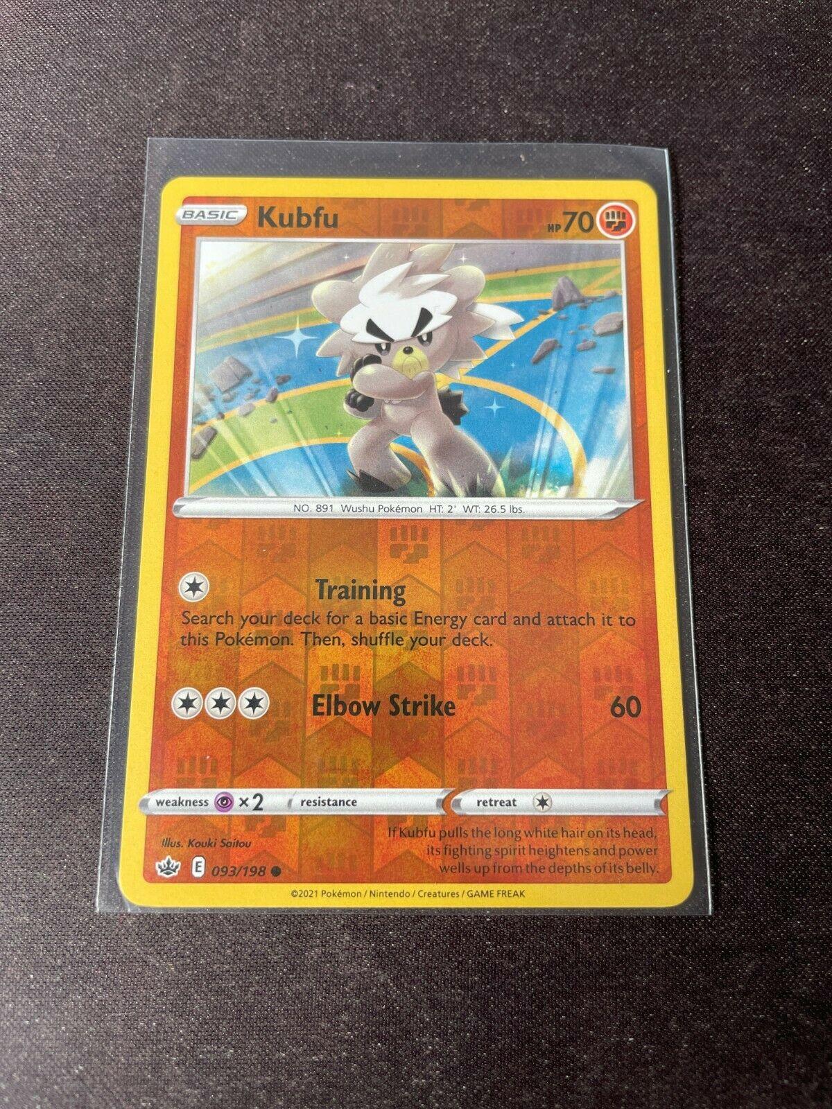 Pokemon TCG Chilling Reign 093/198 Kubfu Card Fresh Reverse Holo Mint Rare