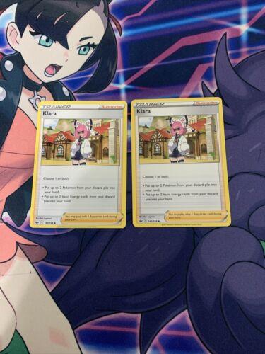 2x Klara 145/198 Chilling Reign NM Pokenon Card Supporter