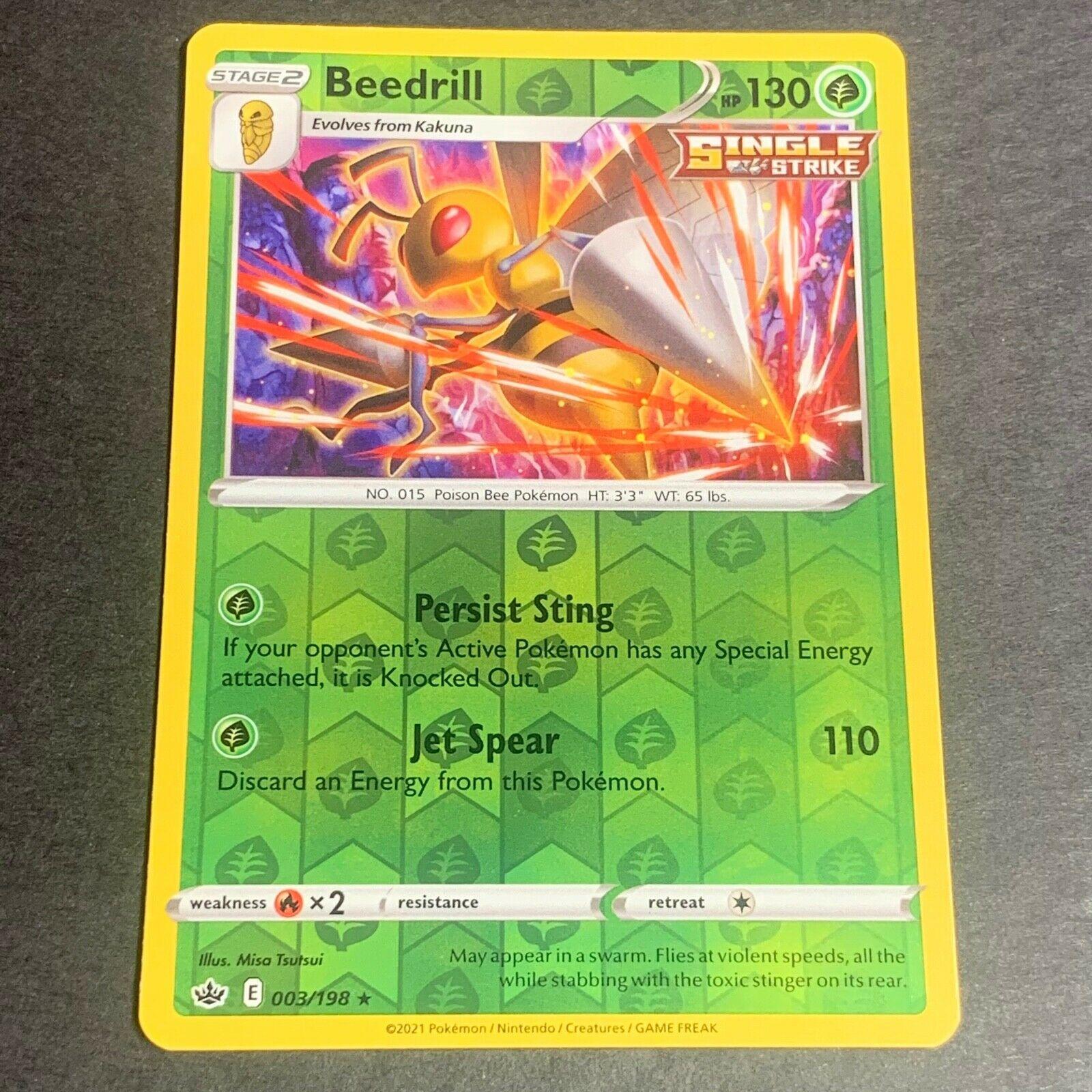 Pokemon S&S Chilling Reign REVERSE HOLO (R.) Beedrill 003/198 - Near Mint (NM)