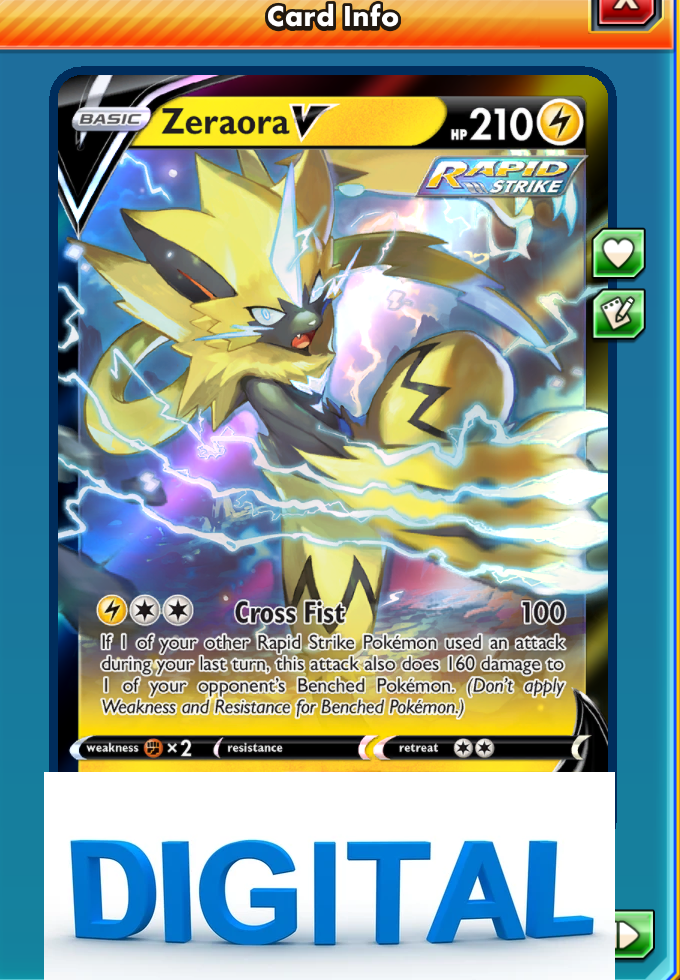 Zeraora V ONLINE DIGITAL CARD - Pokemon TCG PTCGO 053/198 Chilling reign