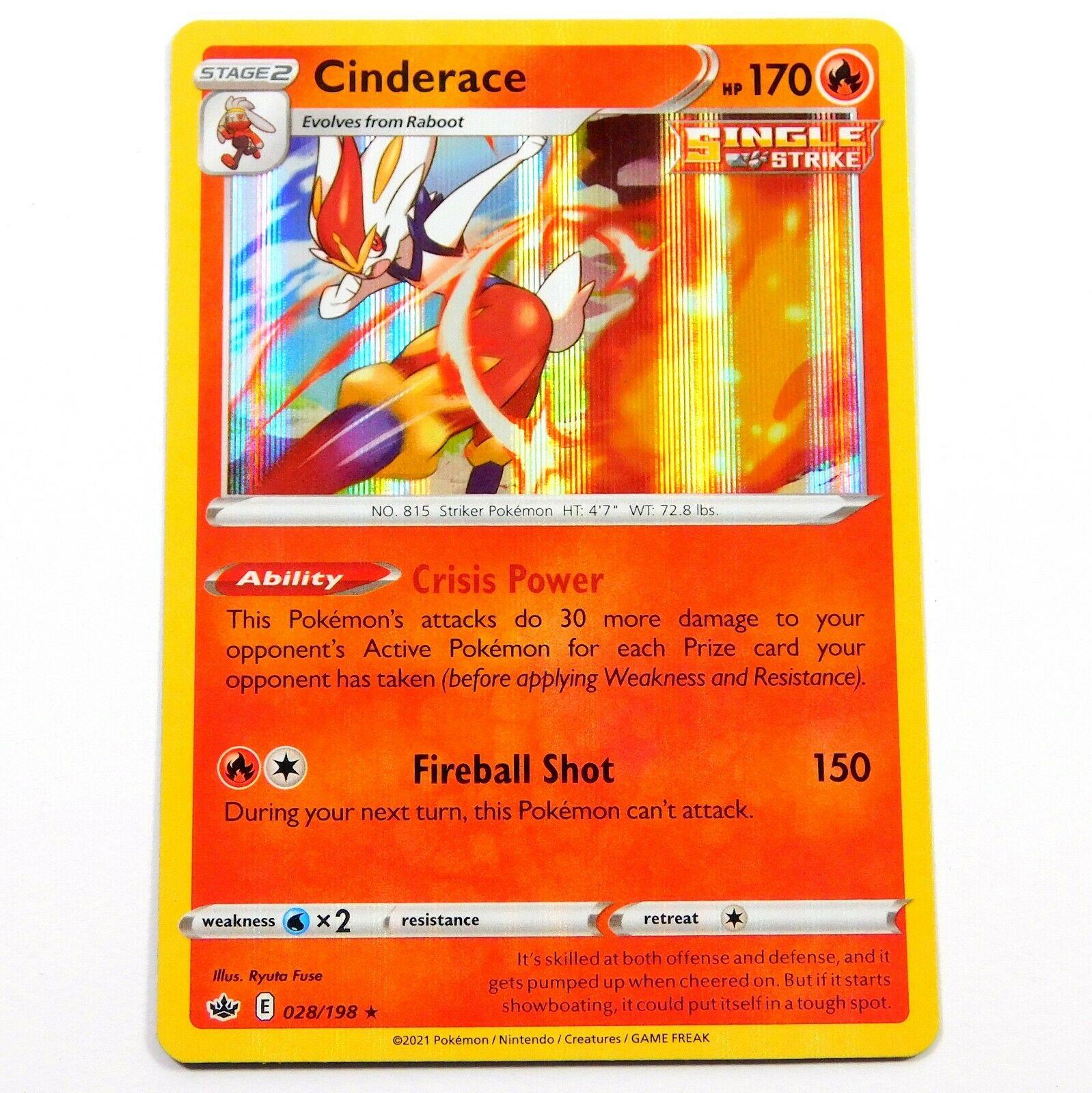 Single Strike Cinderace 028/198 Holo Rare Chilling Reign Pokemon Card NM/M