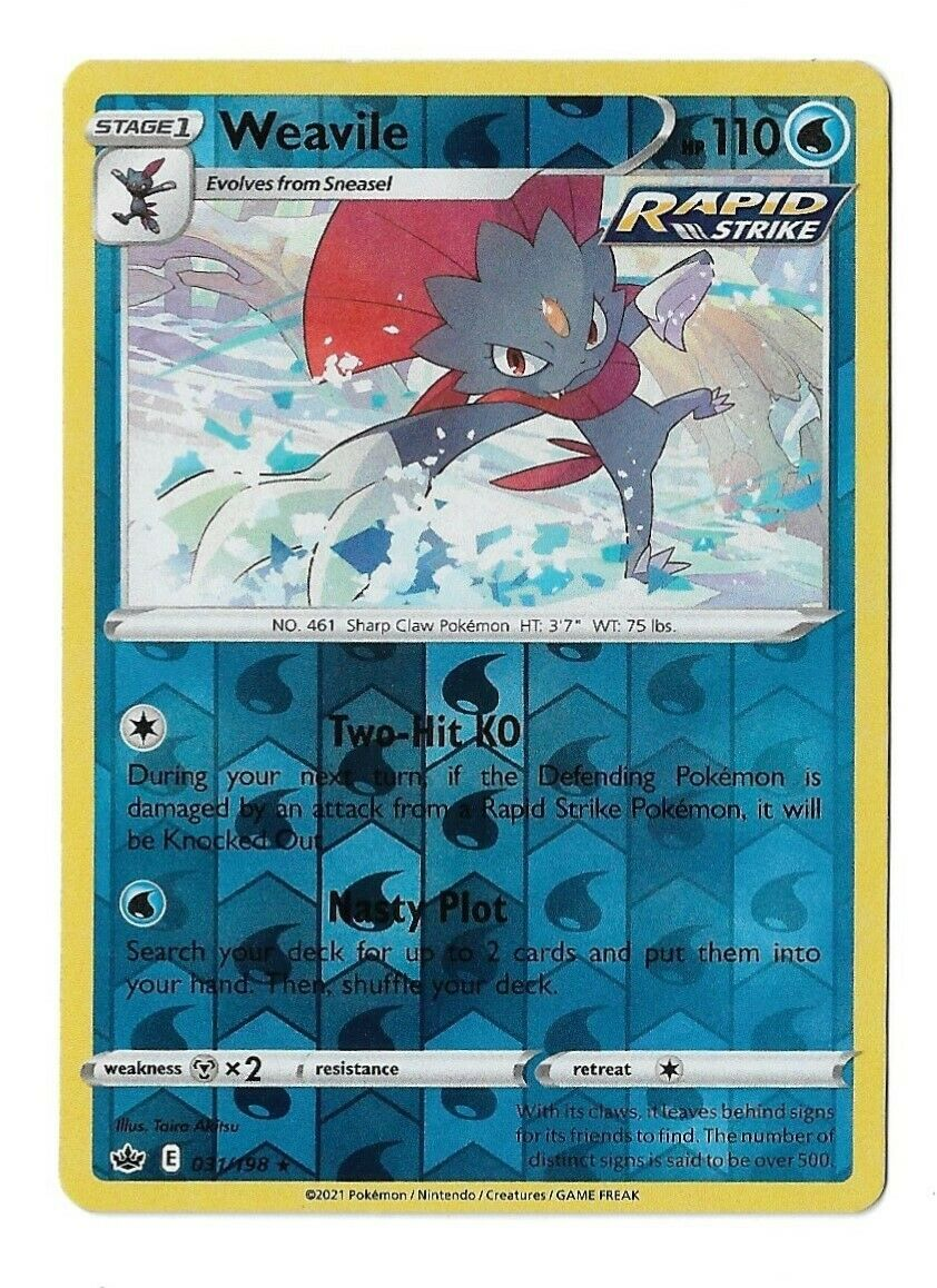 Pokemon Trading card game Chilling reign reverse holo Weavile 031/198 NM