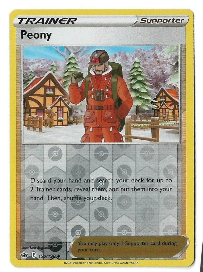 Pokemon TCG Chilling reign reverse holo Peony supporter 150/198 NM