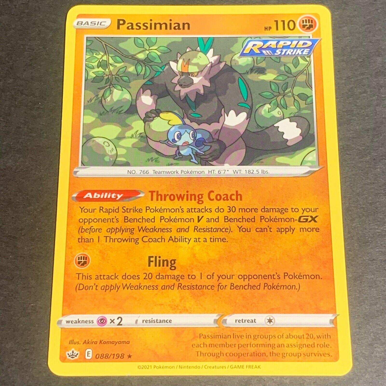 Pokemon S&S Chilling Reign Set RARE Passimian 088/198 - Near Mint (NM) Condition