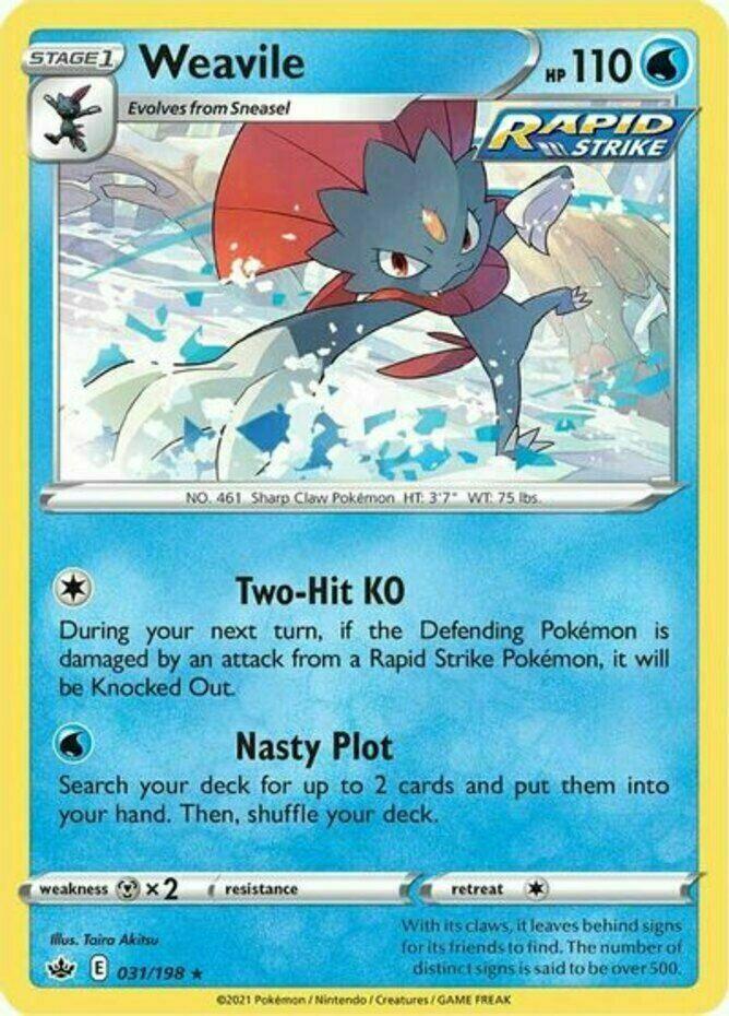 Pokemon - Weavile - 031/198 - Holo Rare - Chilling Reign - NM/M