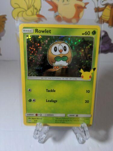 Rowlet 7/25 Holo McDonald's Pokemon Anniversary Promo Near Mint Pokemon TCG