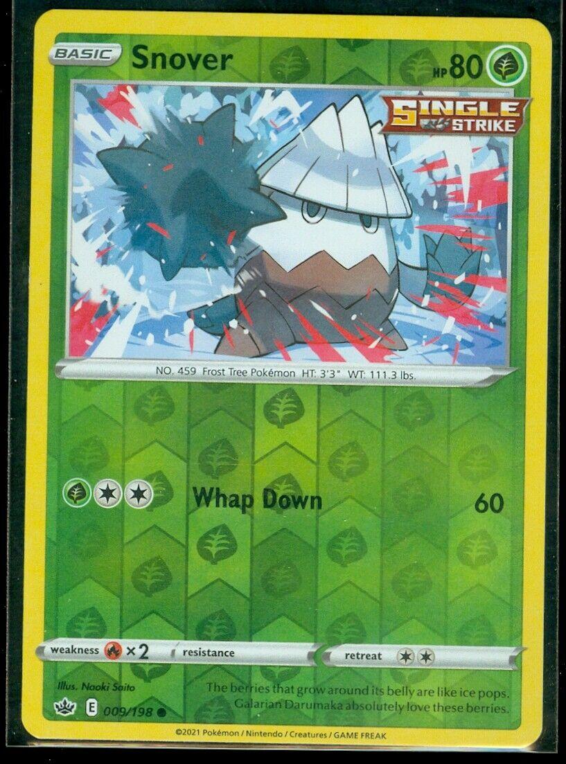 Pokemon SNOVER 009/198 Chilling Reign - Rev Holo - - MINT