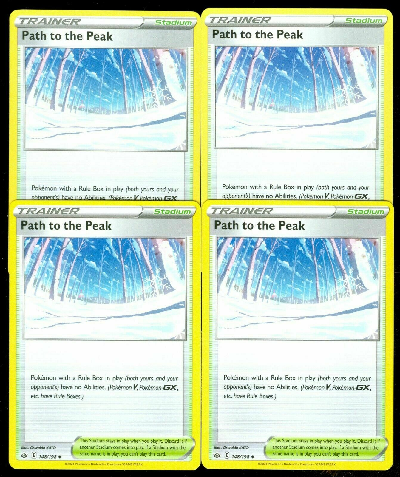 Path to the Peak x4 148/198 Holo Pokemon Card Chilling Reign 4 cards