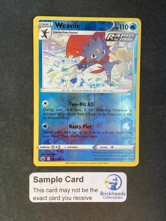 Weavile 031/198 Reverse Holo   SWSH: Chilling Reign   Pokemon Card
