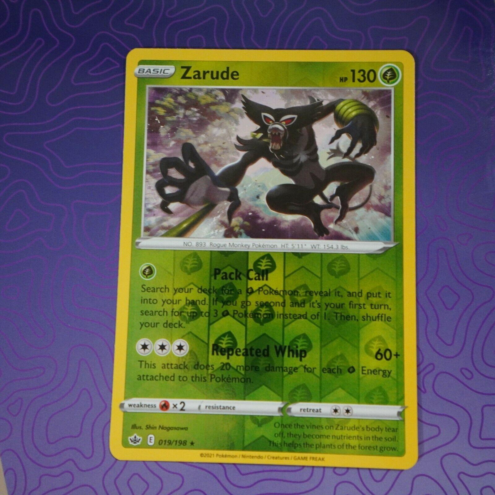 Zarude 019/198 Reverse Holo Rare Pokemon Chilling Reign NM