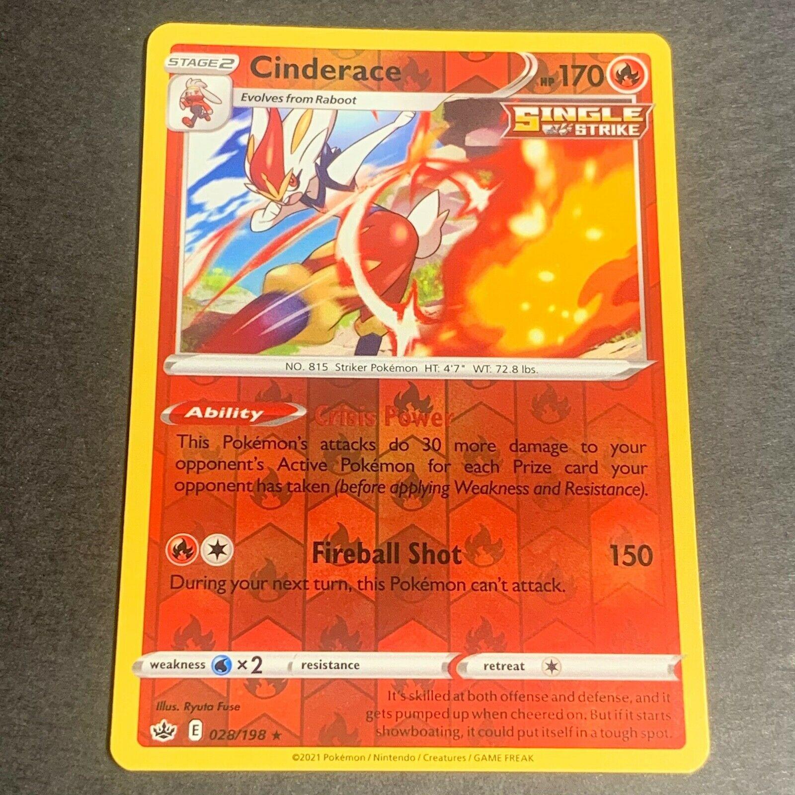 Pokemon S&S Chilling Reign REVERSE HOLO (R.) Cinderace 028/198 - Near Mint (NM)