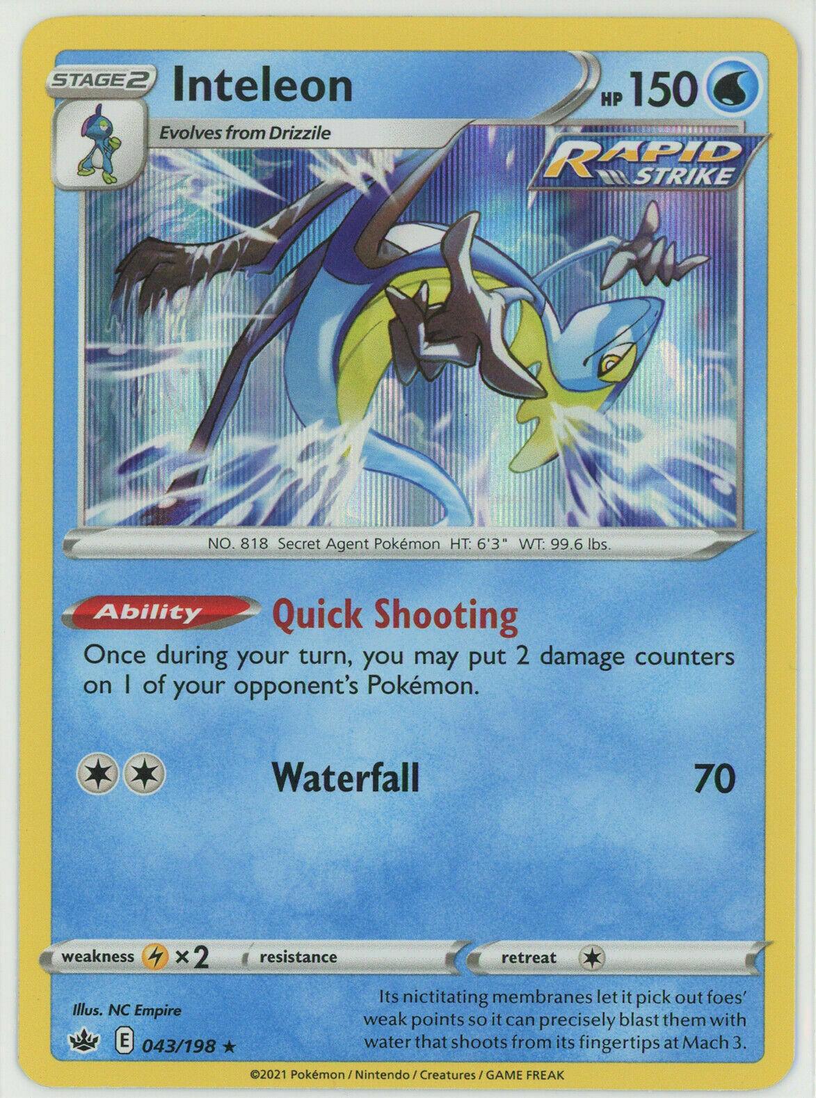 Pokemon - Inteleon - 043/198 - Holo Rare - Chilling Reign - NM/M