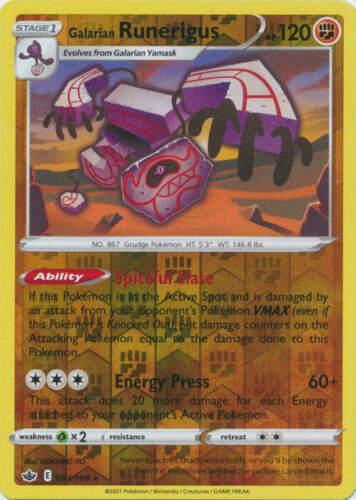 Pokemon - Galarian Runerigus - 083/198 - Rev. Holo Rare - Chilling Reign - NM/M