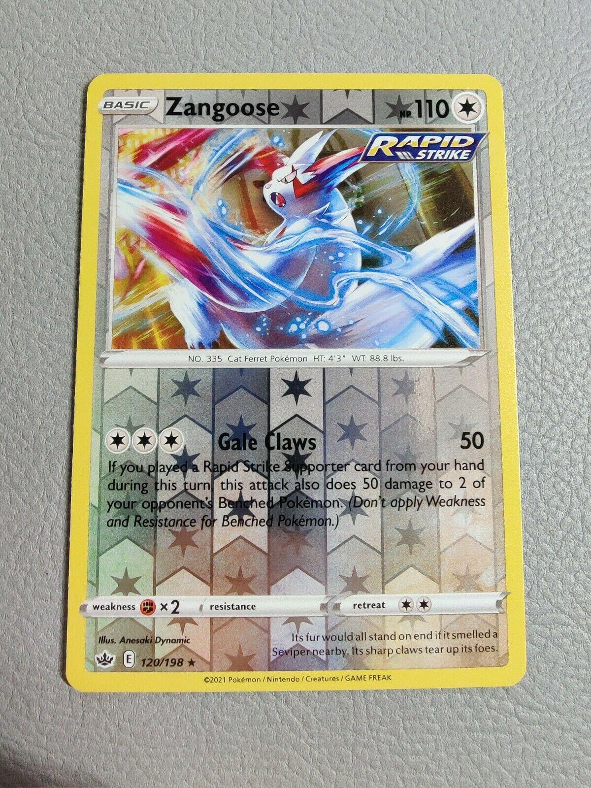 Zangoose | Reverse Holo | MINT | Chilling Reign 120/198 | Rare | Pokemon