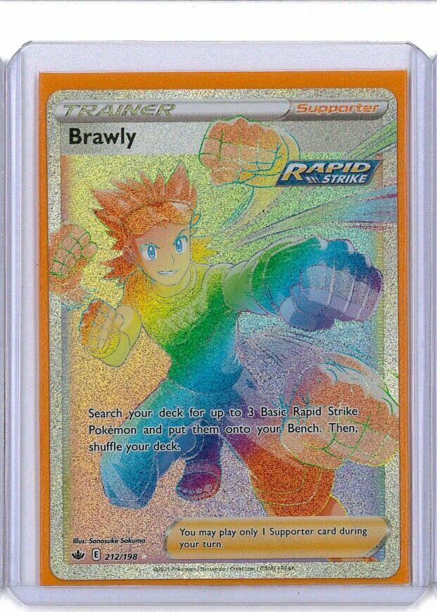 Pokemon Chilling Reign Hyper Rainbow Secret Rare Trainer Brawly 212/198 NM AC