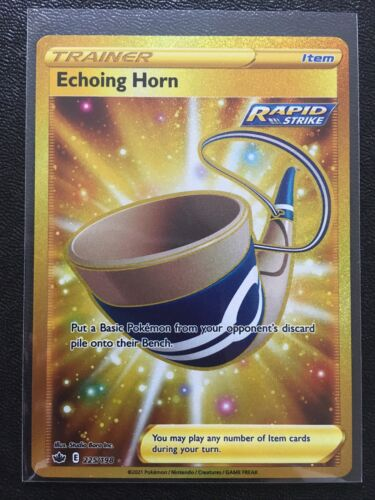 POKEMON ECHOING HORN 225/198 GOLD SECRET RARE HOLO SWORD SHIELD CHILLING REIGN