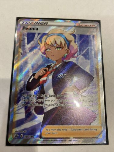 Pokemon Chilling Reign Peonia Full Art Trainer Card 196/198 and Peonia 149/198