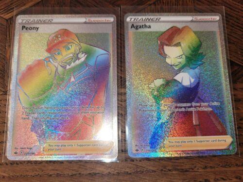 Secret Rare Rainbow Peony And Agatha Chilling Reign Pokemon Full Art 220/198