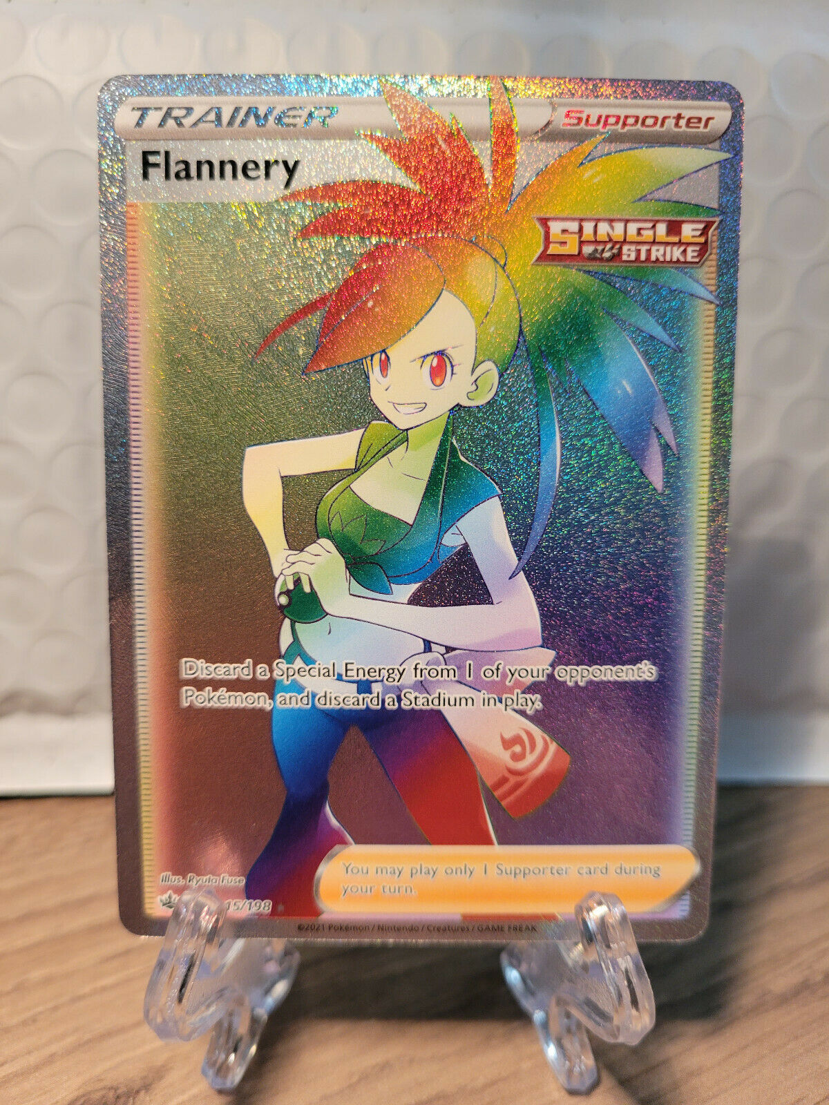 Pokemon TCG Chilling Reign FLANNERY RAINBOW FULL ART SECRET RARE 215/198