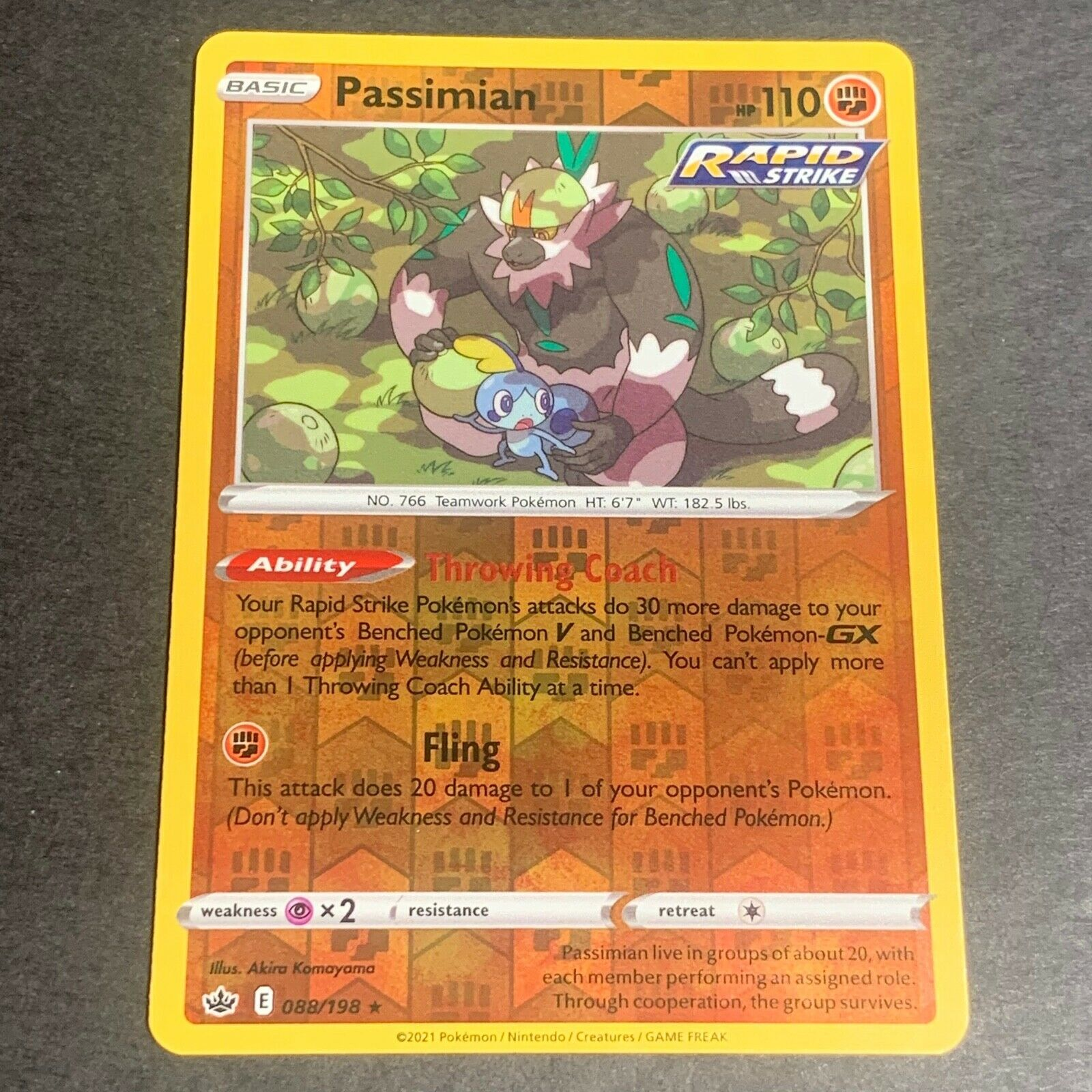 Pokemon S&S Chilling Reign REVERSE HOLO (R.) Passimian 088/198 - Near Mint (NM)