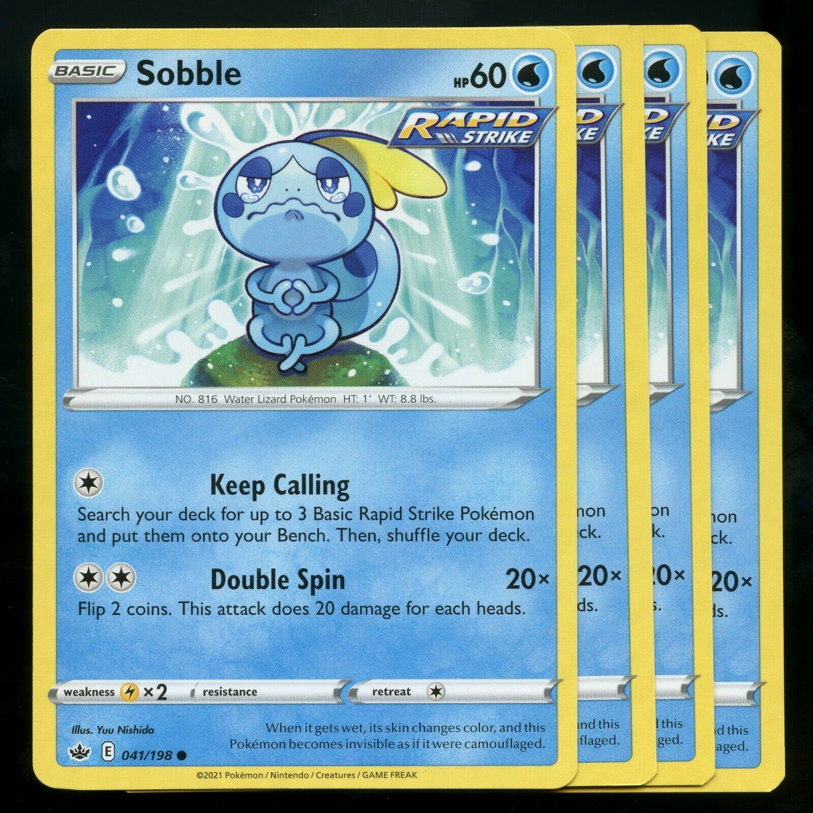Pokemon Cards x4 Sobble 041/198 Chilling Reign Playset Excellent