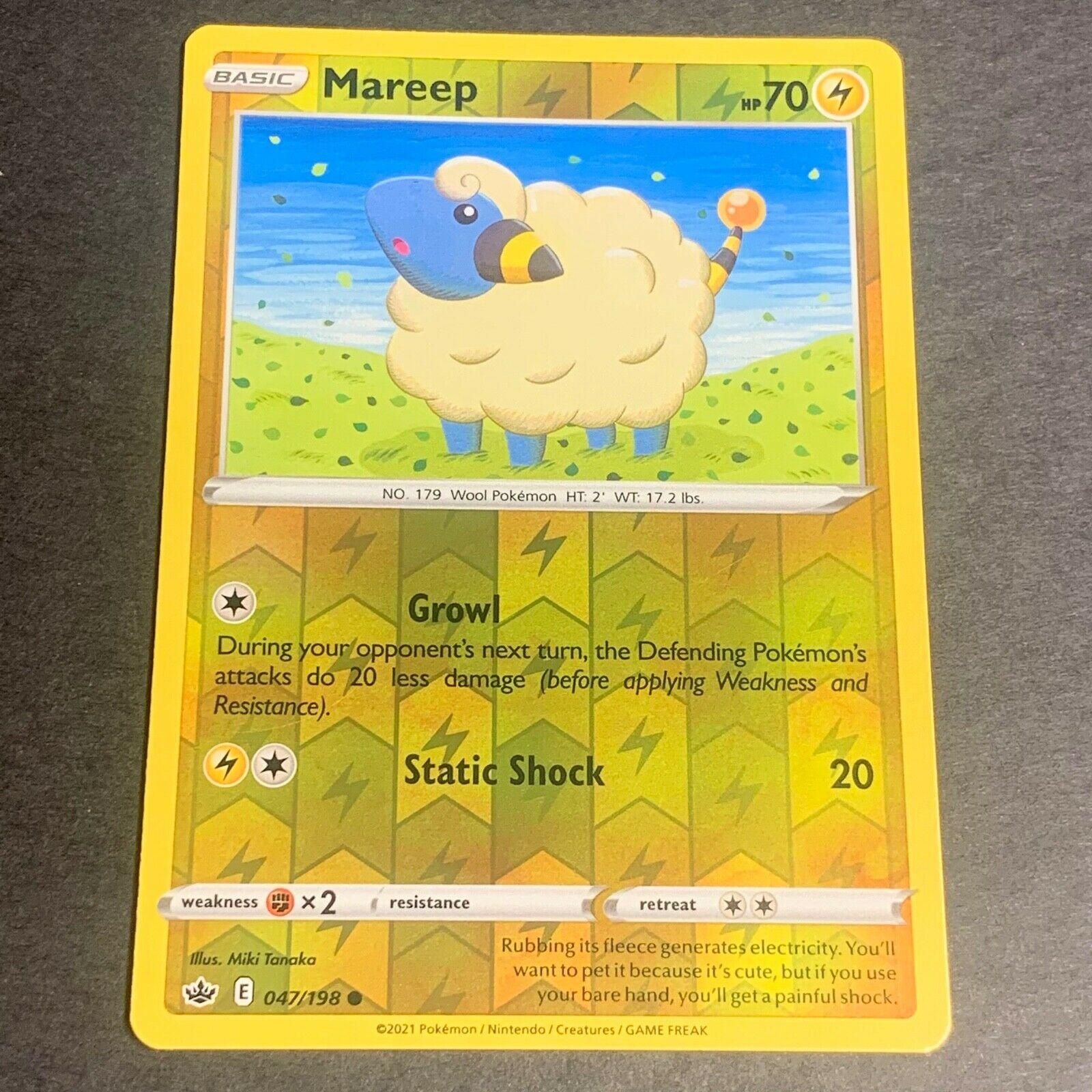 Pokemon S&S Chilling Reign Set REVERSE HOLO (C.) Mareep 047/198 - Near Mint (NM)