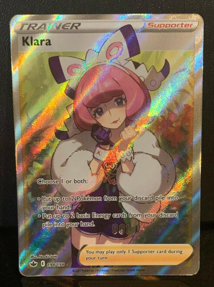 Pokemon SWSH Chilling Reign - Klara 194/198 - Full Art Trainer Near Mint / Mint!