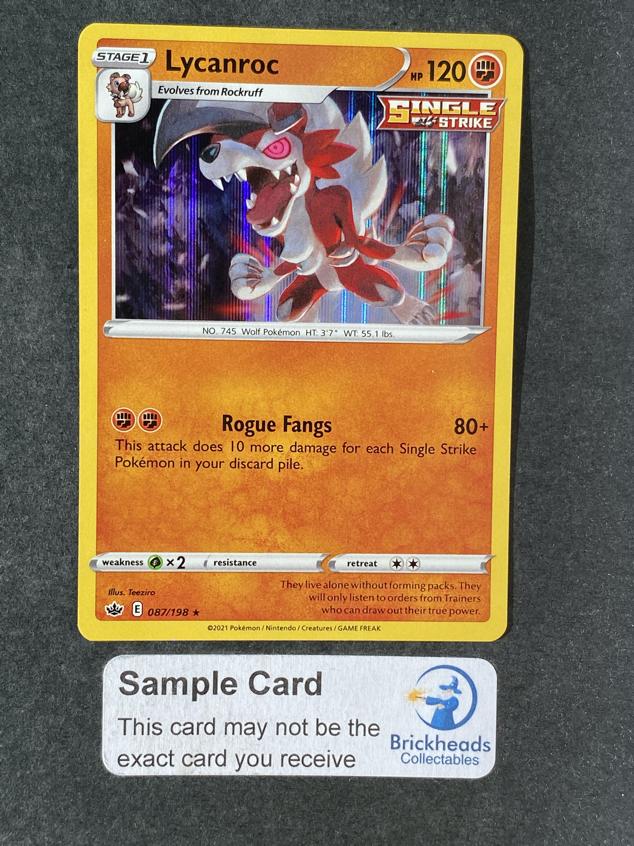 Lycanroc 087/198 Rare Holo   SWSH: Chilling Reign   Pokemon Card