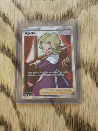 Pokemon Card Agatha Full Art Ultra Rare (186/198) - SWSH Chilling Reign NM